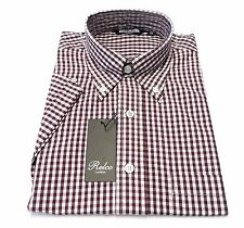 Short Sleeved Burgundy Gingham Check Vintage/Retro Mod Button Down Shirt