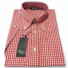 Short Sleeved Red Gingham Check Vintage/Retro Mod Button Down Shirt