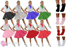 SHORT POLKA DOT SKIRT SCARF & BOBBY SOCKS ROCK N ROLL 1950'S FANCY DRESS COSTUME