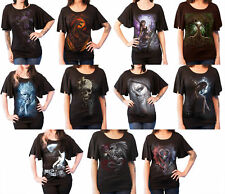 Spiral Direct Top Gothic elegance new womens black Boat Neck Bat Sleeve T shirt