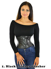STEEL BONED CORSET TOP UNDERBUST OVERBUST WAIST TRAINING CINCHER SATIN LEATHER