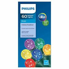 New Philips 60 ct LED Faceted Sphere String Lights Multicolor Green Wire