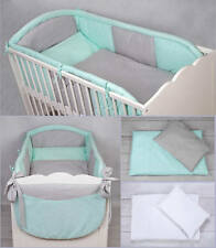 7 PCS PIECE LUXURY COT COTBED BEDDING NURSERY SET DUVET ALLROUND LONG BUMPER