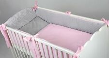 3 PCS PIECE LUXURY COT COTBED BEDDING NURSERY SET MINKY ALLROUND  LONG BUMPER