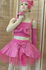 DANCE COSTUME WHOLE SET  4-7 ROSE DISCO MODERN TAP JAZZ FREESTYLE