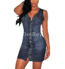 Sexy sans manches Femmes Silm Fit Demin Robe Jeans Robe chemise Mini robe bleue