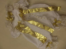 DREAM BABY WHITE  GOLD FRILLY   ROMPER & HBD   NB 0-3 3-6 MONTHS REBORN DOLLS