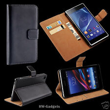 Genuine Real Leather Slim Wallet Flip Stand Case Cover for for Sony Xperia XA