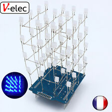 1208# 4X4X4 Blue LED Light Cube Kit 3D LED DIY Kit Electronic Suite  For arduino
