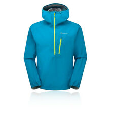 Montane Spine Uomo Blu Impermeabile Pull On 1/2 Zip Outdoor Giacca Cappuccio Top