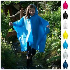 Kids Childrens Light Weight Rain Coat Poncho Waterproof Festival Hooded Cape