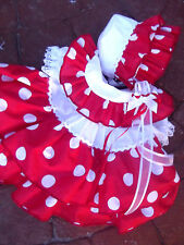 DREAM BABY RED WHITE SPANISH DRESS BONNET UP TO 2  YEARS  OR REBORN DOLLS