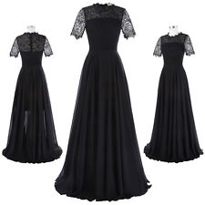KK Women's Short Sleeve Lace & Chiffon Ball Gowns Evening Prom Party Long Dress