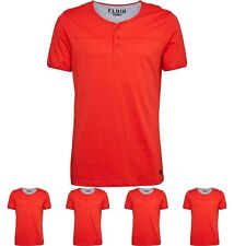DI MODA Fluid Mens Grandad Neck T-Shirt Red XXL
