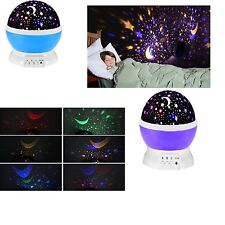 4 LED Starry Night Sky Rotating Projector Lamp Star Moon Light Cosmos Romantic