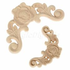 European Style Rose Wood Carved Corner Onlay Applique Furniture Craft Home Décor