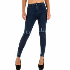 DESTROYED HIGH WAIST SKINNY DAMENJEANS Blau 0500 0€