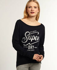 New Womens Superdry Cutters And Makers Top Eclipse Navy