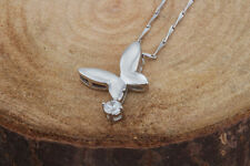 platinum plated 925 solid Sterling Silver butterfly crystal Necklace Pendant