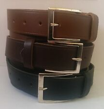 "MADE IN ENGLAND MENS GENUINE LEATHER BELT- BLACK / BROWN /TAN/ WAIST 31"" - 46"""