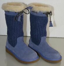 New  UGG Uggs Kids SUEDE SUBURB CROCHET in Blue USA 2 EU 32