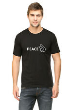 Mens Branded Peace Printed Tshirt | Half Sleeve Round Neck Casual |100% Cotton