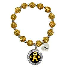 Custom COPD Awareness Yellow Bling Bracelet Jewelry Choose Initial Family Charms