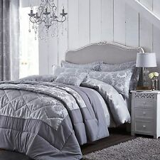 Catherine Lansfield Damask Jacquard Silver Luxury Quilt / Duvet Cover Bedding