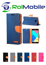 Funda TPU con Tapa Tipo Cartera Canvas Book para Samsung Galaxy J1 2016