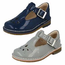 GIRLS CLARKS PATENT BUCKLE T BAR SMART CASUAL FIRST WALKING SHOES YARN WEAVE