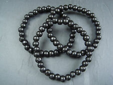"Black 8mm wood bead surfer bracelets or anklets - 7"" 8"" 9"" 10"""