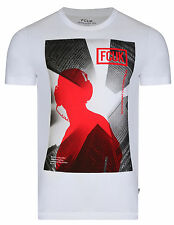 French Connection Graphic Music Listening FCUK T-Shirt Slim Fit White Cotton Tee