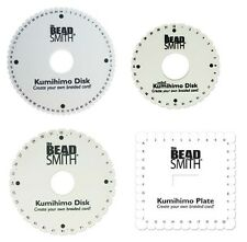 "Beadsmith Kumihimo Braiding Disc WITH INSTRUCTIONS 6"" 4.25"" Square Round 64 slot"