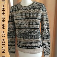 Leon and Harper Naipe Fairisle style Sweater in Multico( Beiges and Black) RRP£1