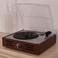 Vintage Vinyl Record Player 110V Auto Stop RPM 33 45 78 Built in Speakers Brown