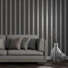 Fine Decor Wentworth Black/Silver Stripe Glitter Wallpaper Feature Wall FD41701
