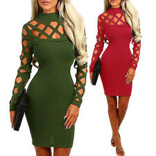 Fashion Women Sexy Caged Slim Fit Bodycon Hollow Burnt Bandage Long Sleeve Dress