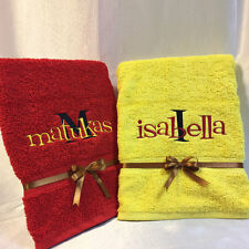 PERSONALISED EMBROIDERED SWIM, SPORTS, BATH TOWEL KIDS CHILDREN GIFT