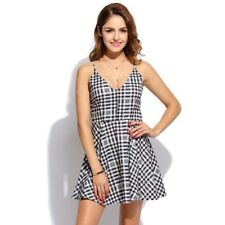 sexy abito bianco nero Spaghetti Strap Plaid Elastic Mini Pieghe Party dress