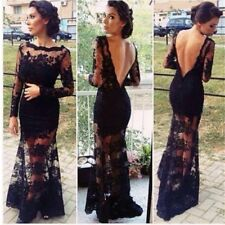 abito notte gala pizzo Evening Solid Black Long Bodycon Evening Lace Dress