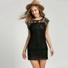 abito mini nero fiesta pizzo Casual Sexy Hollow Out Lace Black Party Dress