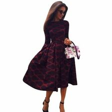 abito inverno geometrica Long Sleeve Boho Retro Evening Party Geometric Dress