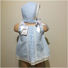 Girls Spanish blue and white dress with matching bonnet