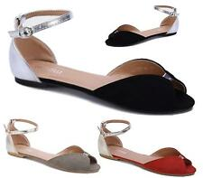 WOMEN LADIES FLAT ANKLE BUCKLE CUT OUT PEEP TOE BALLERINA PUMPS SHOES SIZE