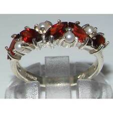 Unusual HALLMARKED Solid Sterling Silver Natural Garnet & Pearl Eternity Ring