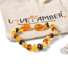 Love Amber x Childs Pebble Beach Polished Mixed Baltic Amber Anklet Bracelet UK