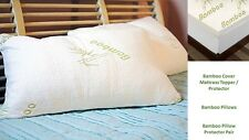 PILLOW MATTRESS TOPPER 2.5CM & 5CM FOAM WITH BAMBOO REMOVABLE COVER ALL SIZES