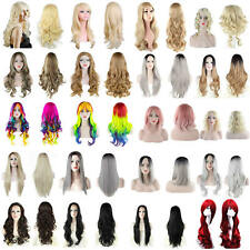 UK Natural Curly Straight Wavy Fancy Dress Cosplay Party Women Ladies Hair Wigs