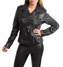 NEW Womens Genuine Leather Cross Zip Jacket Fitted Biker Casual Style Black