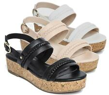 LADIES PEEP TOE BUCKLE SLIP ON SUMMER COMFORT CORK WEDGE PLATFORM SANDALS SHOES